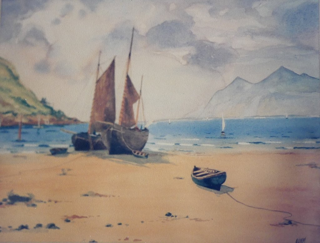 Copy of oil Painting Nevin Bay by Warren Williams (1863-1918)