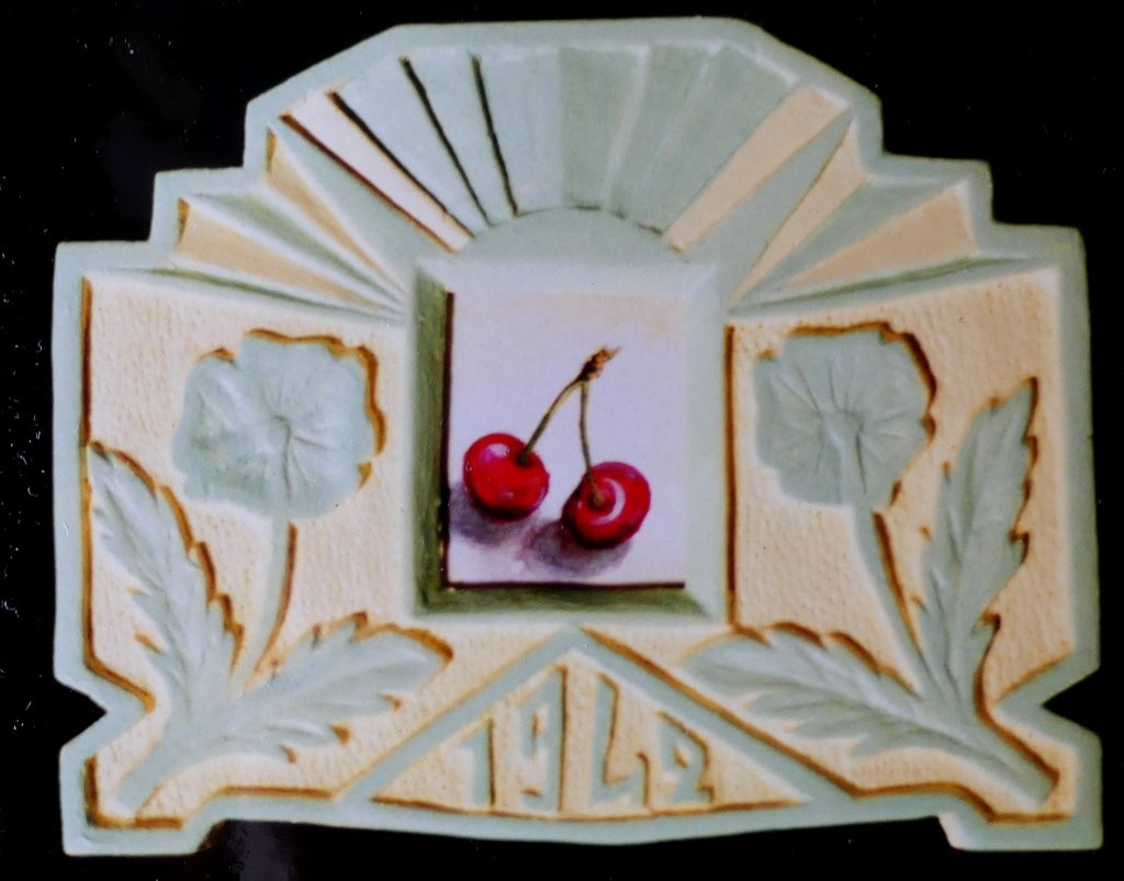 Cherries in Old Calendar Frame