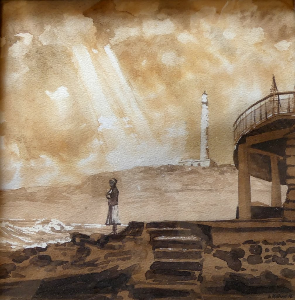 Solitary Figure and Lighthouse, Biarritz