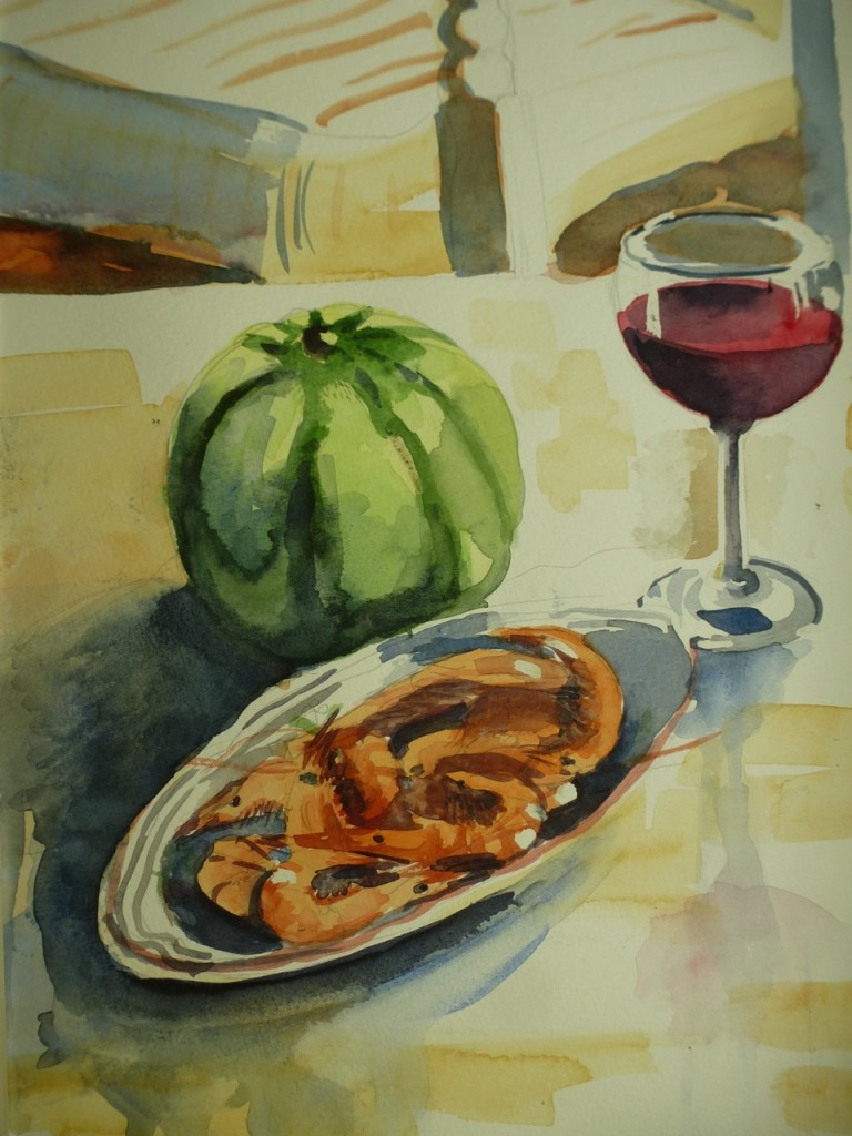 Still Life With Shrimps, Watermelon, Wine